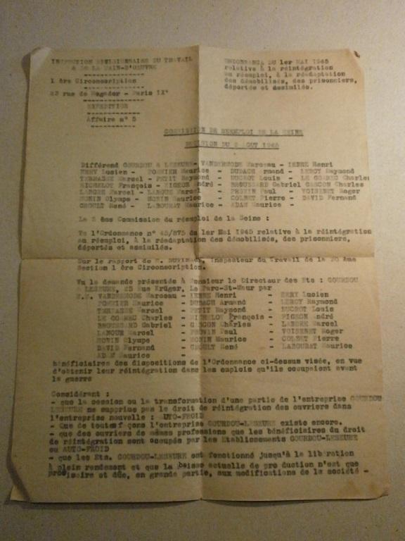 Lot papiers STO Allemagne et rationnement après guerre même personne Lot_ma33