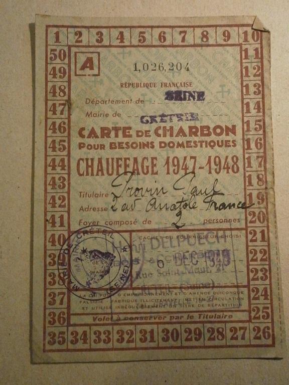 Lot papiers STO Allemagne et rationnement après guerre même personne Lot_ma39