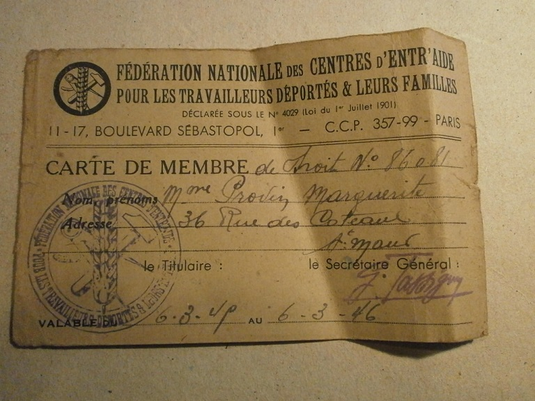 Lot papiers STO Allemagne et rationnement après guerre même personne Lot_ma40