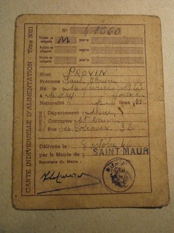 Lot papiers STO Allemagne et rationnement après guerre même personne Lot_ma41
