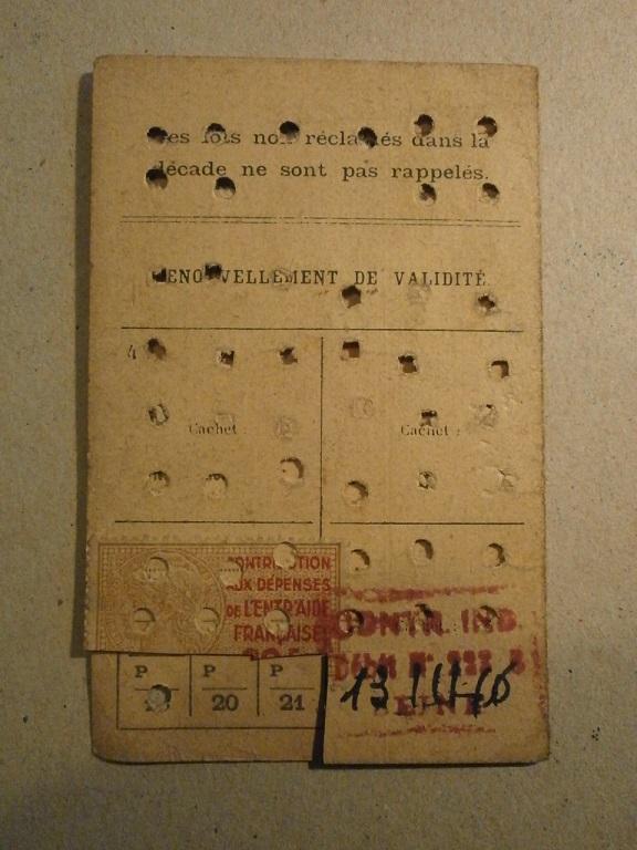 Lot papiers STO Allemagne et rationnement après guerre même personne Lot_ma45