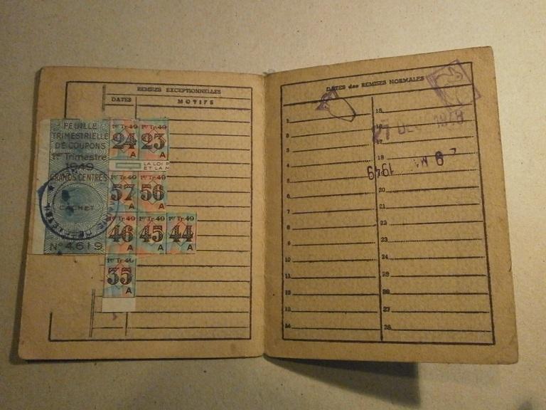 Lot papiers STO Allemagne et rationnement après guerre même personne Lot_ma46