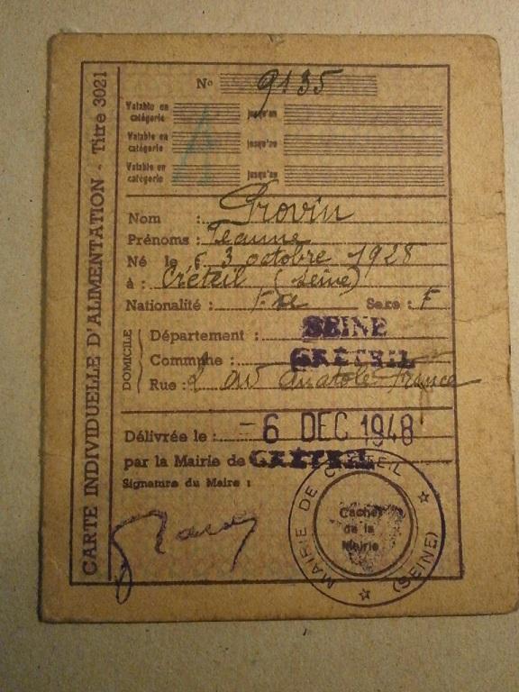 Lot papiers STO Allemagne et rationnement après guerre même personne Lot_ma48