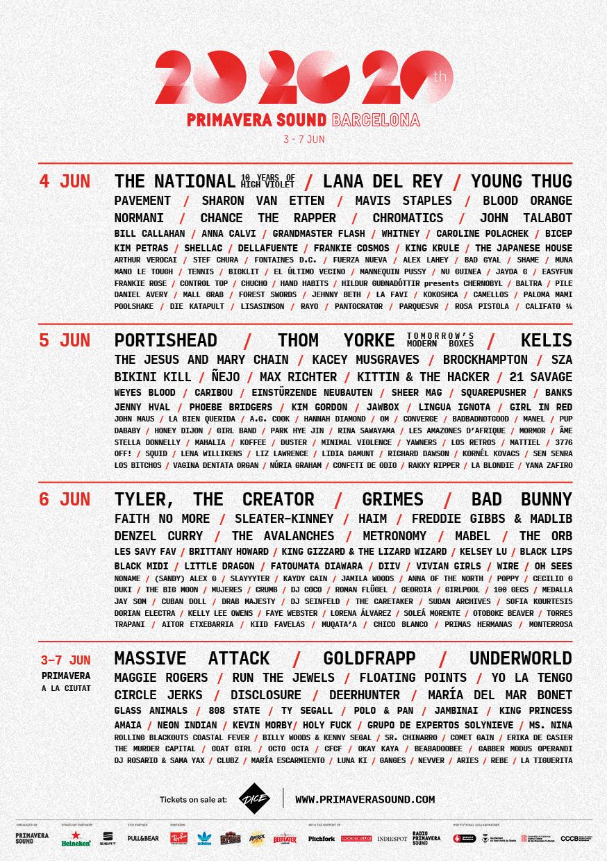 Primavera Sound 2020. Pavement, Beck, Dinosaur Jr., Fontaines DC, Kurt Vile, King Gizzard, Iggy Pop, Mavis Staples, Napalm Death Ps202011