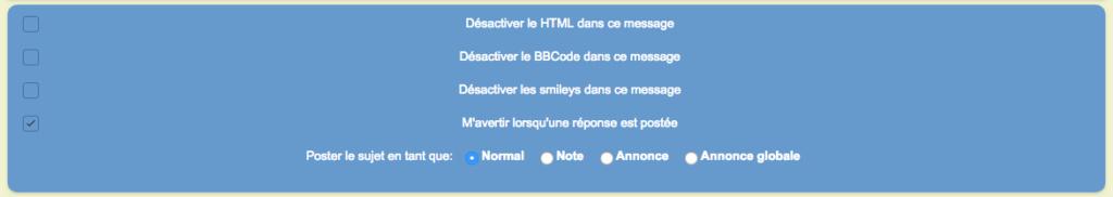Supprimer désactiver le HTML, les BBcode et les smileys dans ce message Avant110