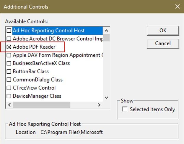 عرض ملف pdf عن طريق userform Reader10