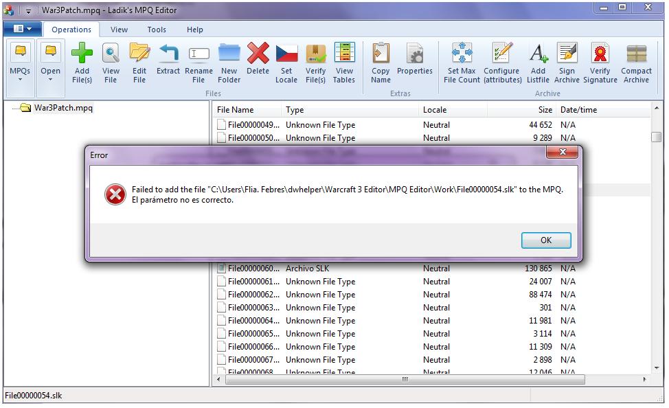 Problemas al editar el archivo War3Path.mpq con el MPQ Editor Mpq210