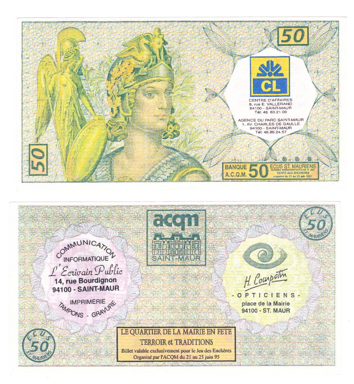 Premiers billets en Ecu/Euro 95-01-10