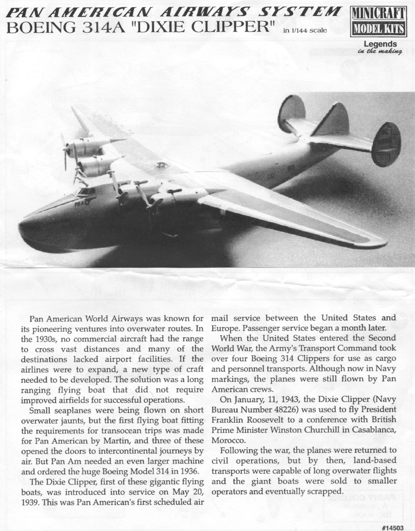 "Boeing 314 ""Dixie Clipper"" 1939-1950 (/1/144 Minicraft) Notice11"