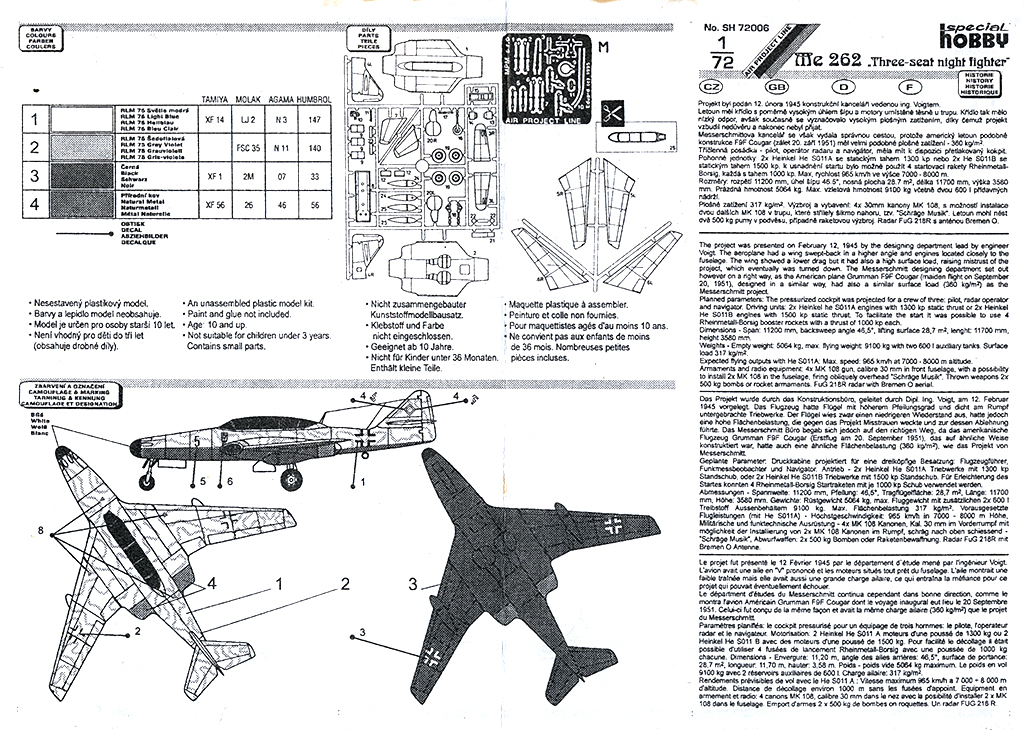 "Messerschmitt Me.262 B-2a ""Three-seat night fighter"" (Special Hobby #72006) Notice13"
