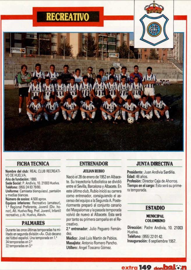 RECREATIVO DE HUELVA 89-90 Recre12