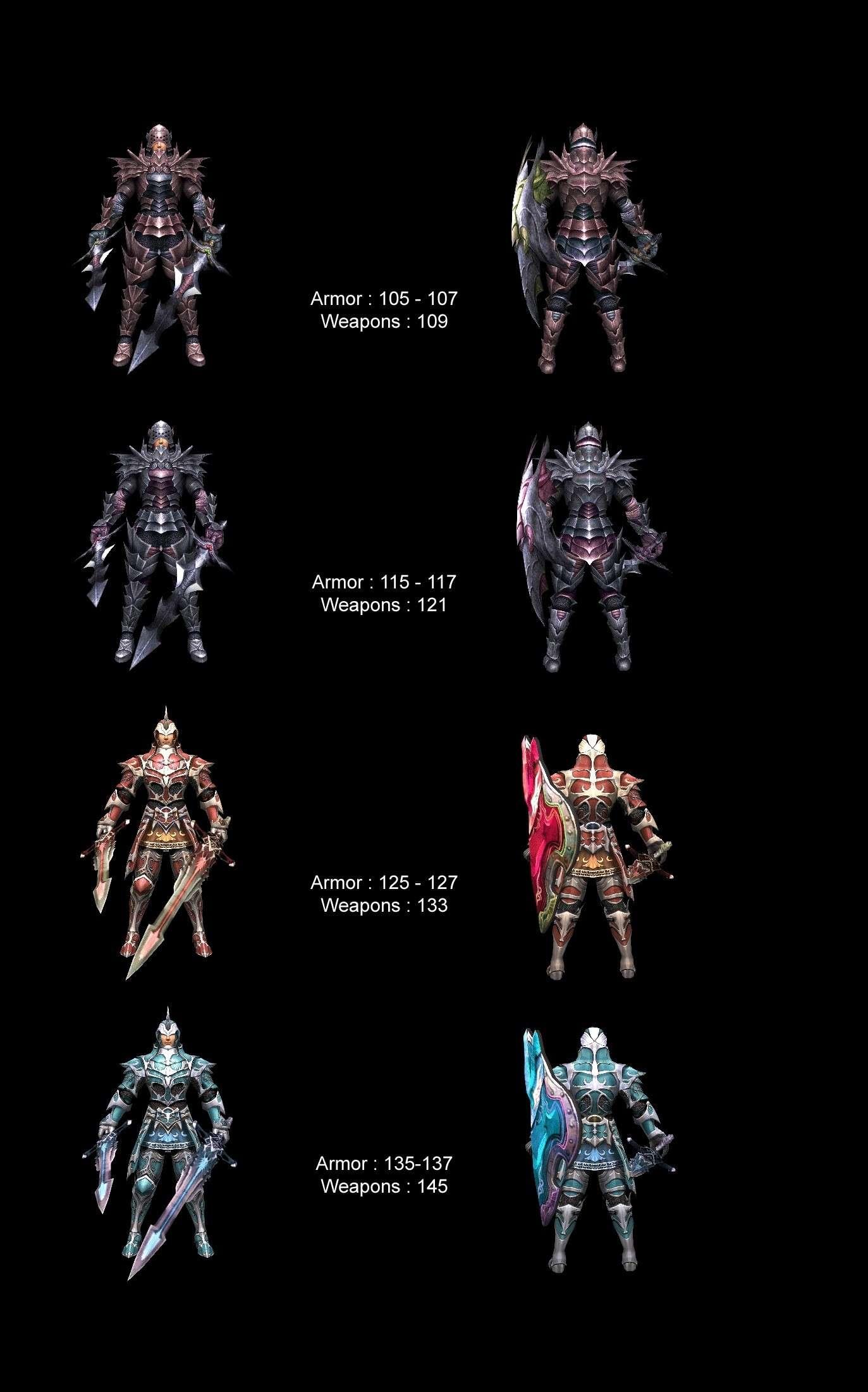 Armure 105 à 135 et arme 109 à 145 12506111