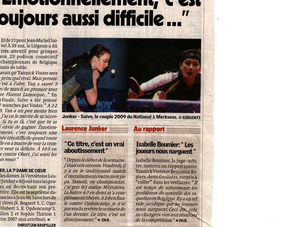 Yannick Vostes et Benjamin Rogiers aux championnats de Belgique 2009 .......... Articl10