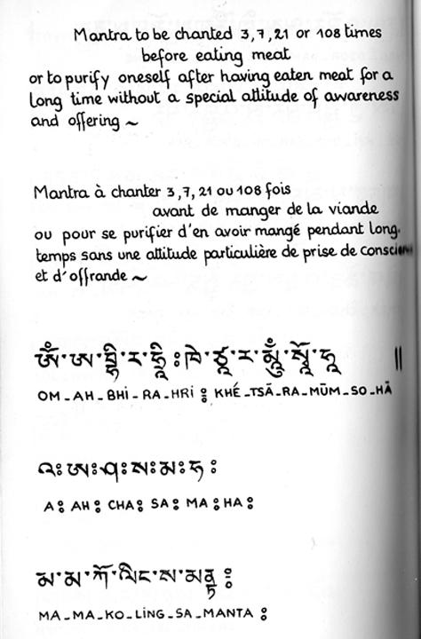 Prière des repas, dédicace Mantra10