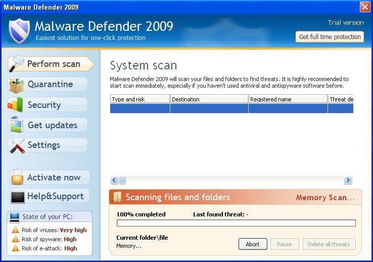 Malware Defender 2009 - Guida alla rimozione Md200910