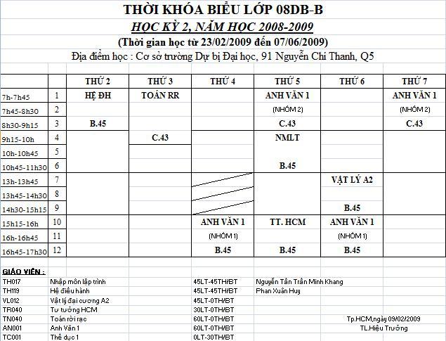 THỜI KHÓA BIỂU HK II (2009) - 08 DB B Tkb10