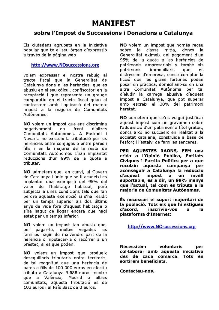 MANIFEST SOBRE L'IMPOST DE SUCCESSIONS I DONACIONS A CATALUNYA Manife15