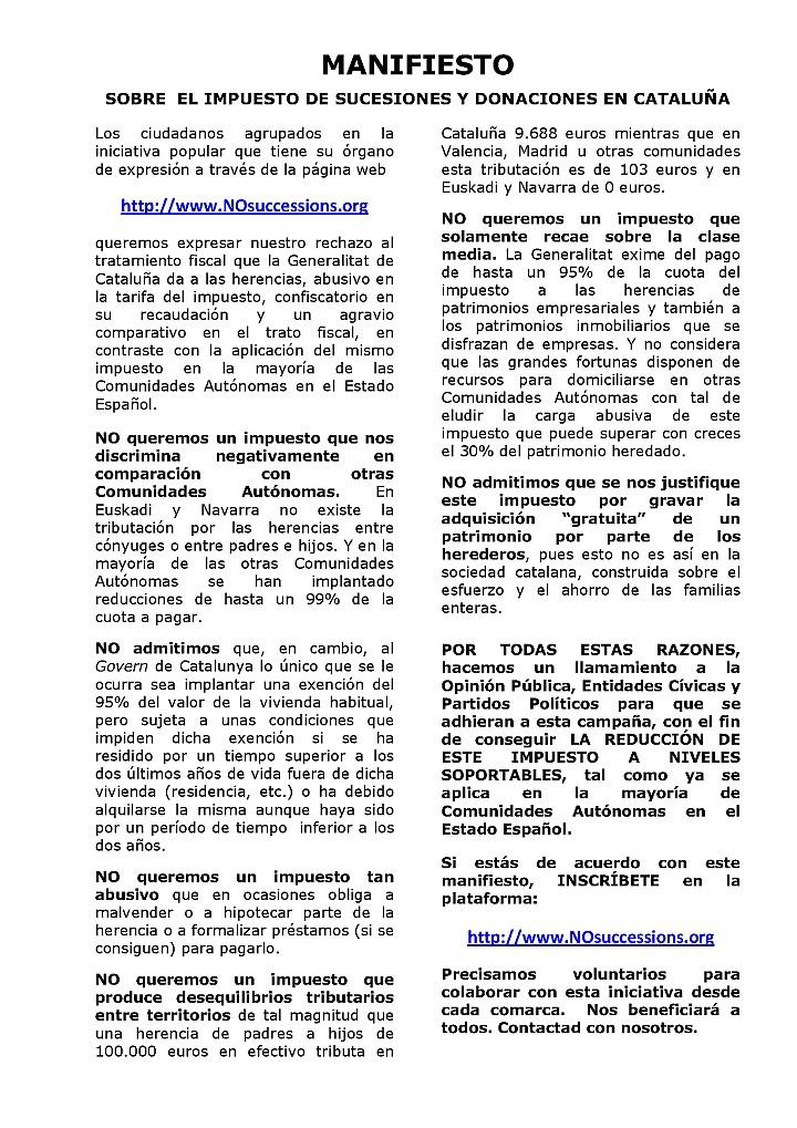 MANIFIESTO SOBRE EL IMPUESTO DE SUCESIONES Y DONACIONES EN CATALUÑA Manifi14