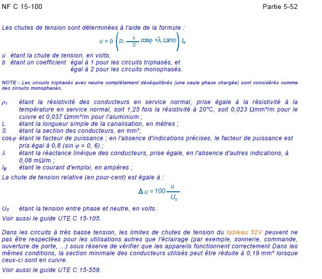 Calcul de chute de tension sur ligne Nfc_ch10
