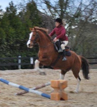 Une cavalière pratiquant, entre autres, l'équitation en amazone Saut_a10