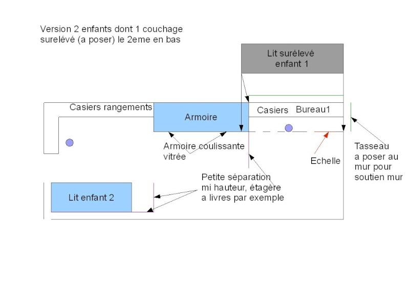 Version définitive chambre pour 2 enfants, avec systeme évolutif Chambr11