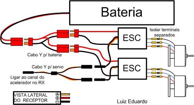Como ligar a eletrônica avião Esquem12
