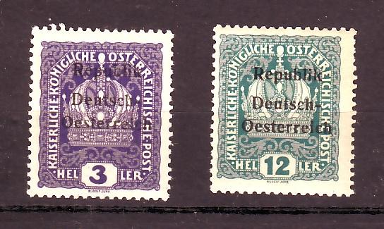 Deutsch-Öst Marke mit nicht katalogisiertem Aufdruck Republ12