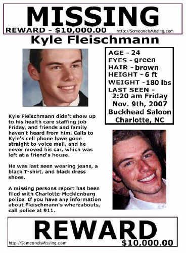 Kyle Fleischmann missing from Charlotte, NC, since November 2007/Kyle featured on 'Vanished', family hoping this will help find their son Kyle-f10