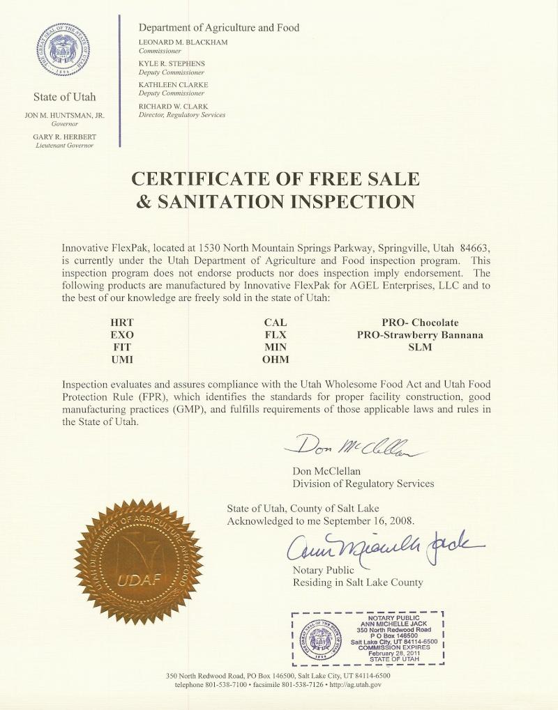 Certificações e prêmios Agel Enterprises. Certif10