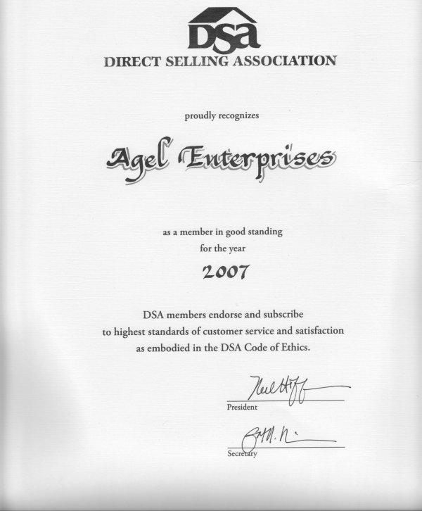 Certificações e prêmios Agel Enterprises. Dsacer10