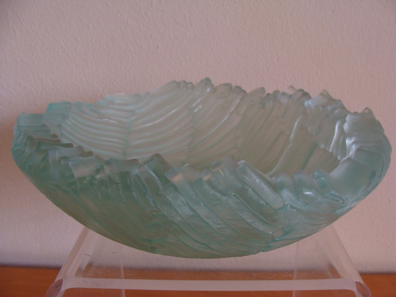 Frosted Blue Wavy Stacked Glass Bowl - Signed Blue_b14