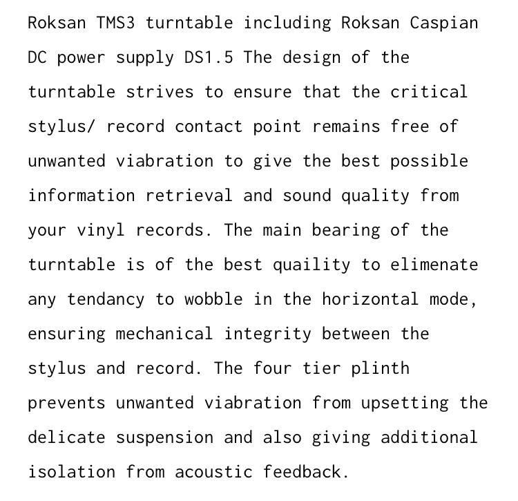 Roksan TMS3 Turntable With Roksan Caspian Power Supply A123