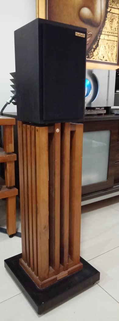 Guizu Solid Teak Wood Speaker Stand with Cast-iron Base and Spikes Harbet18