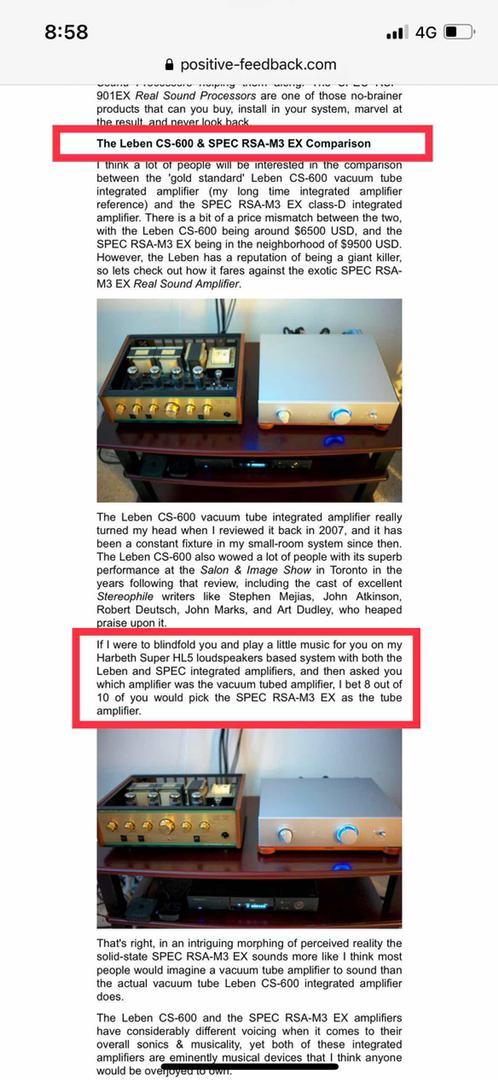 SPEC Corporation RSA-M3EX Integrated Amplifier Spec1010