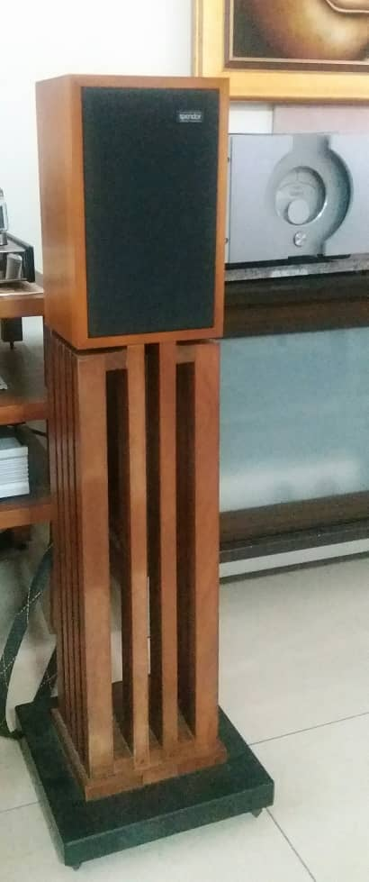 Guizu Solid Teak Wood Speaker Stand with Cast-iron Base and Spikes Spendo20