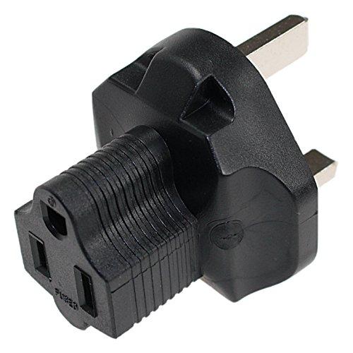 USA-UK 3 Prong Plug Adapter with Correct Phase Polarity Uk210