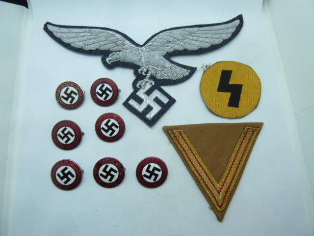 Luftwaffe, Gebirgsjager, Alte Kampfer, DJ, nid d'insignes NSDAP...... P1660625