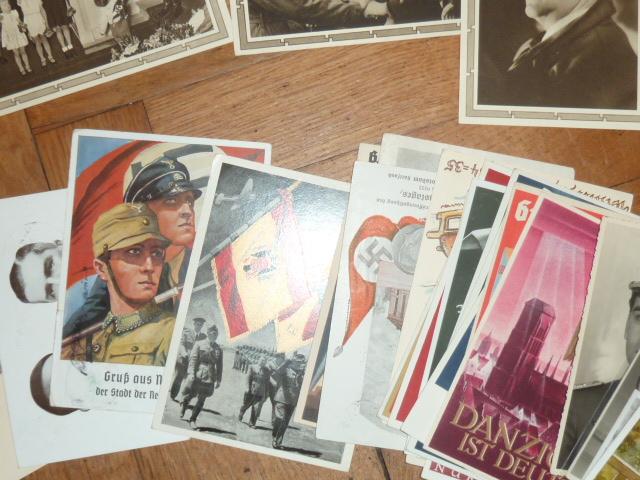 Médailles et décos en nombres, dague DLV, cartes postales dont beaucoup de SS P1670213