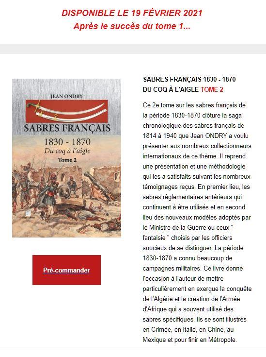LIVRE T2 SABRES FRANCAIS 1830-1870 - Page 3 Annonc10
