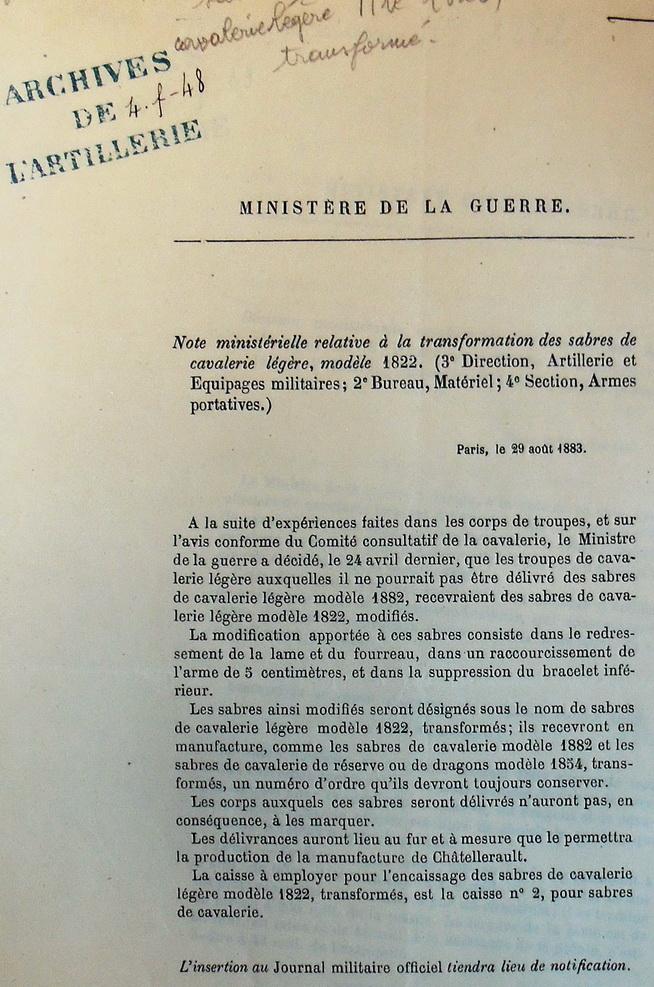 SABRE DE CAVALERIE LEGERE TROUPE MLE 1822 TRANSFORME 1883 Imgp3016