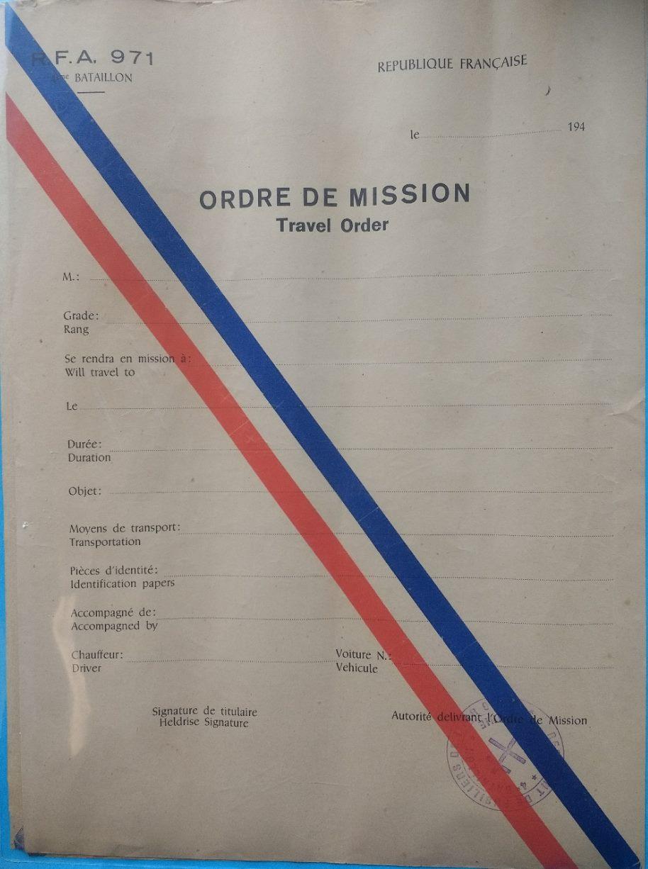 ORDRE DE MISSION R.F.A 971 20190710