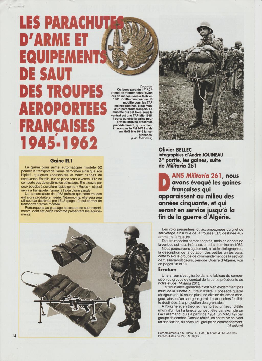 Equipements TAP-Parachutes et gaines A13