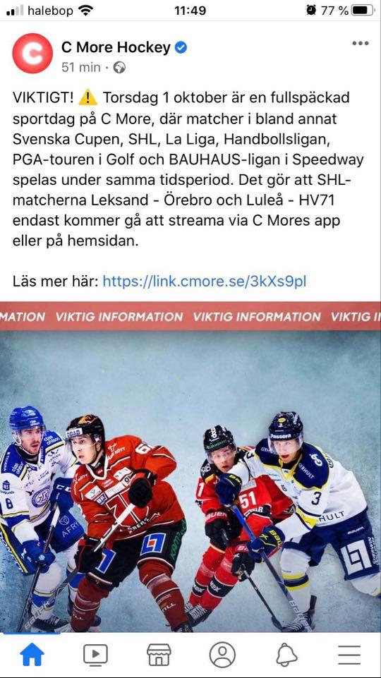 2020-10-01, SHL-match 3, Luleå - HV71 Cmore10