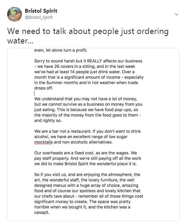 Bar owner criticises people who order only water with their meal. 13987810