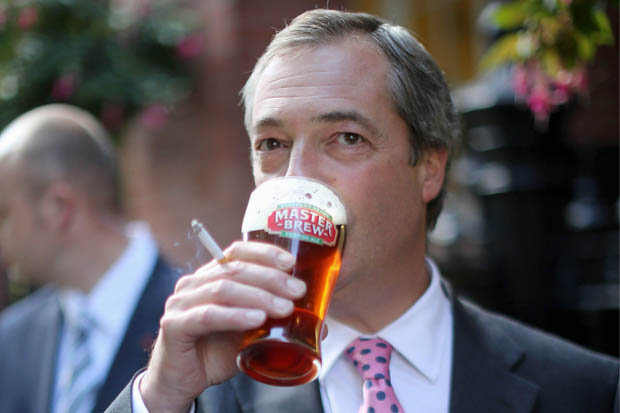 Nigel Farage says the queen mother was an overweight, chain smoking gin drinker... Beer-310
