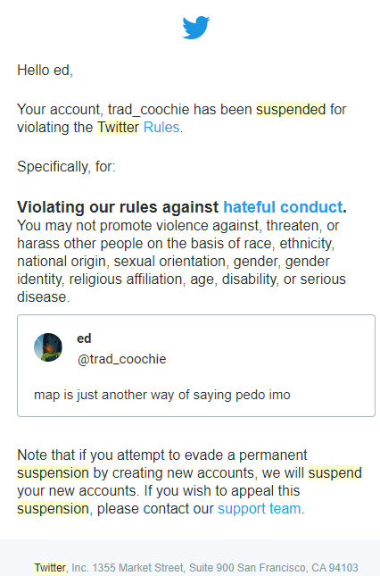 So pedophiles are a protected class now on Twitter Ebrdhn10