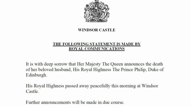 The Duke of Edinburgh has died. Skynew12