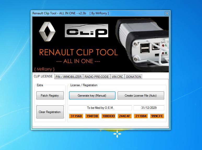 activation clip avec renault clip tool Licenc15