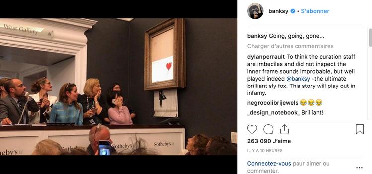 L'oeuvre de Banksy s'est auto-détruite après sa vente. Banhsy10