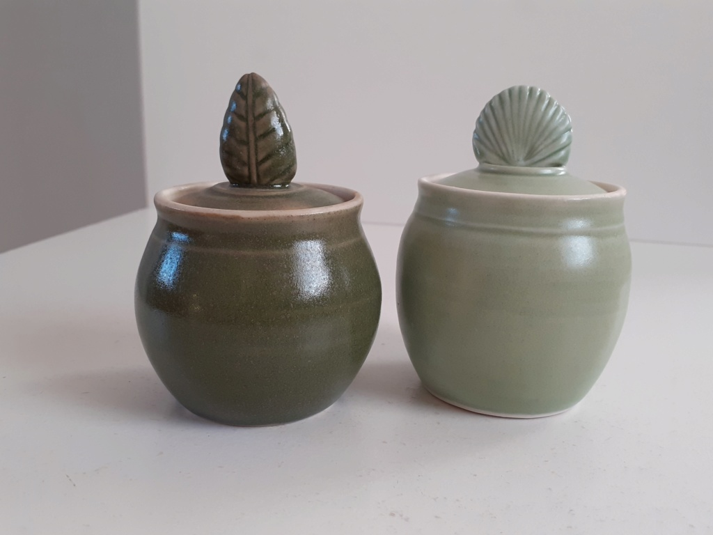 Two little Lidded Pots with Unidentified Mark  20200212